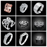 Wholesale Women Rings Sterling Silver Plated Vintage Female Ring Jewelry For Girls Wedding ring Party Gifts With Crystal Stone set RG