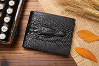 alligator skin purses - high quality fashion short bifold men leather purse wallet crocodile skin d split genuine leather wallets