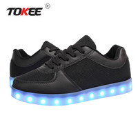 Wholesale Tokee Unisex Led Light up Changing Colors Dancing Sneakers Plus Size Men Women Low Top Lace up Breathable Air Mesh Shoes with USB Charger