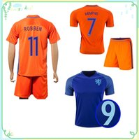 Wholesale 16 Netherlands Soccer Jerseys Nederland Soccer Uniforms Jersey Holland Shirts Sets Robben Sneijder Depay Home Away Football Kits