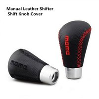 Wholesale Universal black red car styling Manual Leather Shifter Shift Knob Cover Stitch MOMO Shifter Lever