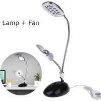 Shadeless Modern Wall Mouted New Generatino desk lamp with fan USB Powered 13 LEDs Light Desktop Flexible Lamp Fan for PC Laptop Good Gift For Kids <$18 no tracking