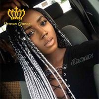 Wholesale Black gray New fashion style Braided Lace Front Wigs Black Long hair wigs For Black Women Full Hand Braided Synthetic Hair Braided Wigs