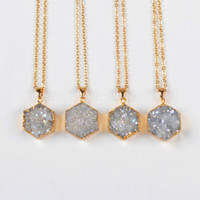ab necklace - Natural Agate Titanium AB Druzy Pendant Bead Gold Plated Hexagon druzy charm Pendant Necklace NG0391