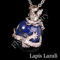 amethyst balls - Lapis Lazuli Natural Stone Round Bead Silver Plated Dragon Ball Reiki Pendulum Pendant Charms Super Energy Amulet Fashion Jewelry