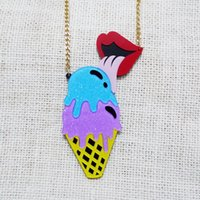 american ice cream - European Fashion Personality Exaggerate Punk Night Club Jewelry Accessories Acrylic Ice Cream Red Lips Pendant Necklace