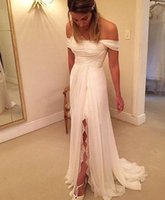 Wholesale Glittering Splits Beach Wedding Dress Off the shoulder with Straps Chiffon Pleated Lace Sequine Boho Cheap Long Bridal Wedding Dresses Gowns