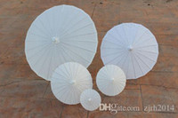 Wholesale New White paper parasols DIY painting umbrellas Chinese craft umbrella Bridal wedding parasol sizes available Long handle Drop shipping