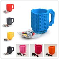 Wholesale 2016 New Hot Drinkware Building Blocks Mugs DIY Block Puzzle Mug oz Piece Build On Brick Creative Mug Lego Type Coffee Cup