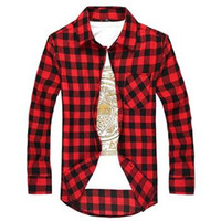 Wholesale New Men s Long Sleeved Flannel Casual Plaid Shirt Men Checkered Dress Shirts Slim Stylish Fashion M XXL