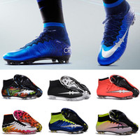 aa meshes - Men Mercurial Superfly FG CR7 Soccer Shoes Children Soccer Cleats Laser original Kids Boys football boots women Girls Football Shoes
