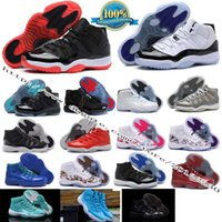 Wholesale 2016 Retro layer of Basketball Shoes Concord Bred Space Jam Legend Blue Basketball Sneakers Women Men High Top Athletics Boots Retro XI