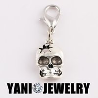 Cheap Antique Metal Alloy 3D Skull Charm Floating Dangle Charm with Lobster Clasp DIY Charm for Glass Locket