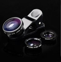Wholesale 3in1 Fish Eye Wide Angle Micro Lens Camera Kit for iPhone Samsung HTC LG Sony