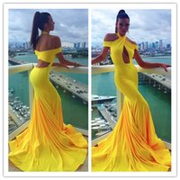 Wholesale Charming Bright Yellow Halter Formal Evening Dresses Hollow Bust Mermaid Off Shoulder Floor Length Spring Pageant Prom Cocktail Gowns