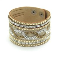 b food - 015 New Fashion Charm Women Leather Bracelets Personality Printed Pave Setting Rhinestone Bracelets Jewelry Gold Cheap jewelry beaded b