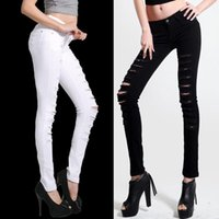 Wholesale Lady s Slim elastic pants Ankle Length Straight Mid Waist Jeans Denim Ripped Boyfriend Jeans With Holes For Woman Button pencil denim pant