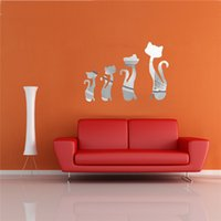 best cat art - The Best Price DIY D Four Cute Cats Acrylic Mirror Wall Stickers Home Room Decar Art Decal Best Promotion