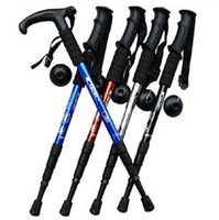 Cheap new arrival Adjustable Anti Shock Trekking Hiking Walking Stick Pole 51cm-110cm 0.35kg with Compass Nordic Walking mountaineering cane