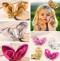 american alligator baby - 2016 D Baby Sequins PU rabbit ear hairpin children hair accessories american girl hair alligator clip Christmas boutique Party Decoration