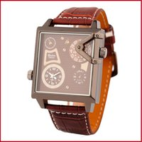alloy steel table - High Quality Fashion Casual Man Table Cool Two Time Zones Sport Outdoor Leather Strap WristWatch Quartz Watch Military Steel Army Design
