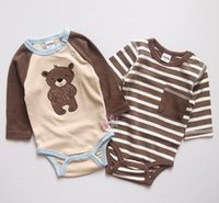 Wholesale New Baby s Romper set Cute Bear Long sleeve Bodysuits One piece Cotton pieces set for Children