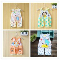 bamboo garments fiber - Summer Male and female baby garment with sleeveless Baby romper suit split pants Bamboo fiber thin section Baby clothes cartoon pattern