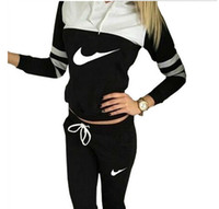 Wholesale 2016 Hot spell color track suit stitching letters printed hooded fashion suit set women sport suit