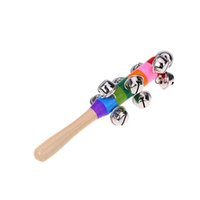 Wholesale Jingle Bell Rattles Colorful Rainbow Wooden Rattles Nursery Decor Baby Musical Bell Toys