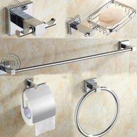 Wholesale Round Stainless Steel Bathroom Accessories Set Soap dish Robe hook Paper Holder Towel Bar set