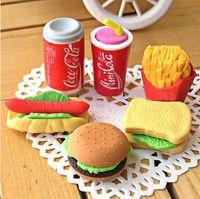 Wholesale Gomas De Borrar New Burger Fries Coke Eraser students Stationery removable Rubber Polishing erasers K6811
