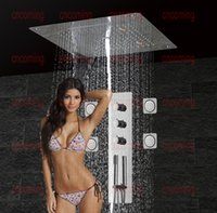 bath taps square - Bathroom Shower Panel with LED Ceiling Shower Head Massage Jets Thermostatic Bathroom Mixer Faucet Bath Tap Accessories EF5307
