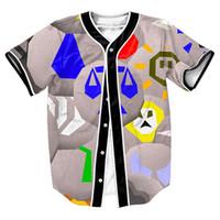 Wholesale sweat shirt Runescape Runes Jersey Summer Style with buttons d Hip Hop Streetwear Men s shirts sport tops baseball shirt