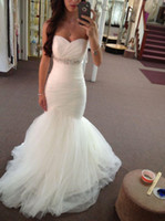 Wholesale Beautiful Ruched Sweetheart Mermaid Wedding Dresses With Crystal Bead Sash Sexy Chapel Train Long Bridal Gowns No Sleeve Plus Size