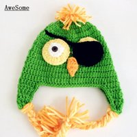 Unisex Winter Crochet Hats Super Cool Pirate Parrot Hat,Handmade Knit Crochet Baby Boy Girl Green Animal Earflap Hat,Kids Winter Hat,Infant Toddler Photography Prop