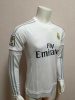 Soccer football wear - 2015 Reals Madrid Long Sleeve Home Jerseys Mens Soccer Wears Discount Soccer Apparel Thai Quality Football Shirts Soccer Apparel