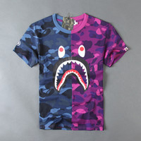 Wholesale 2016 brand Men Camouflage shark T shirt skateboard Hip Hop T Shirt WGM letter printing pure Cotton purple blue TShirt