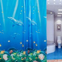 Wholesale Eco friendly Bath Curtain Moldproof Waterproof Thickened Bathroom Curtain Sea Life Shower Curtains with Rings JI0086 smileseller