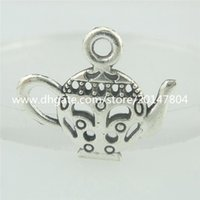 antique silver pots - 15554 Alloy Antique Silver Vintage Hollow Teapot Coffee Pot Pendant
