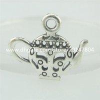 antique coffee pot - 15554 Alloy Antique Silver Vintage Hollow Teapot Coffee Pot Pendant
