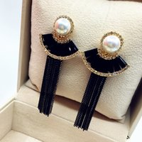 bijoux - Luxury Crystal Tassel Long Earrings For Women Bijoux New Design Fashion Party Jewelry Gold Plated Black Fine Quality
