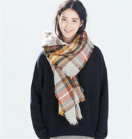 basic acrylic colors - 53 Colors Winter Tartan Plaid Scarf Blanket Scarfs Designer Acrylic Basic Shawls Women s Scarves Big Size CM New