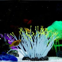 anemone fish tank - Aquarium Ornaments Night luminous Artificial Sea Anemone Fish Tank Decoration Aquarium Accessories Mixed Colors
