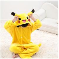 Wholesale New kids pikachu pajamas Anime Pocket Monster costume Carton Animal onesies for boys girls cosplay pajamas children sleepwear