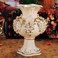 Cheap European Luxury Home Accessories Vases Decorated Living Room Furnishings Wedding Housewarming Gift Fruit Gilt Vase