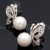 alphabet song - Song Hye Kyo Butterfly Simulated Pearl Earrings Han Edition Stud Earrings Fashion Jewelry for the Bride s Earrings