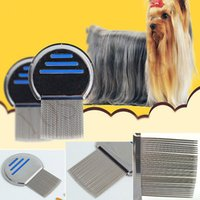 Wholesale Pet Dog Cat Grooming Combs Fur Shedding Hair Removal Grooming Rake Comb Cleaning Brush stainless steel Catching Lice flea comb