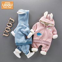 Wholesale baby girl winter coat set winter Sweater suit piece thick velvet Cotton Long sleeve hooded baby girl outfit T