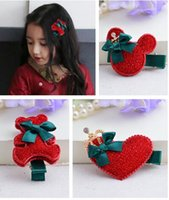 baby bear hair accessory - Red suede bear children love Mickey hairpin Christmas New Year baby girls hair accessories hairpin