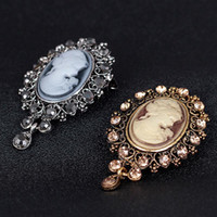 beautiful cameo - 2Pcs Unisex Party Vintage Cameo Style Beautiful Head Series Crystal Wedding Party Women Pendant Brooch Pins